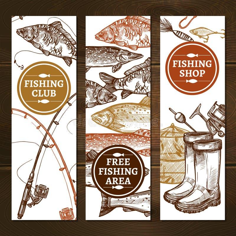 钓鱼被设置的垂直的横幅 皇族释放例证
