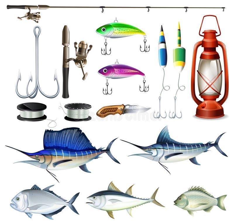 钓鱼集合用设备和鱼 皇族释放例证