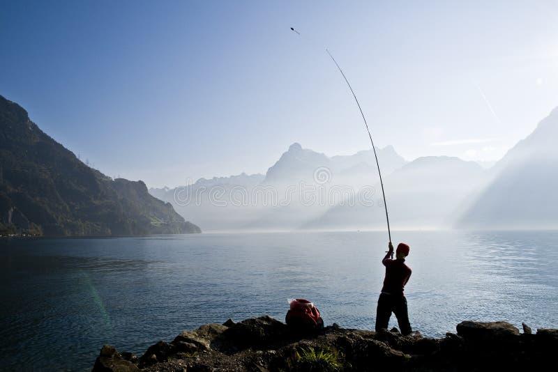 钓鱼飞行 库存照片