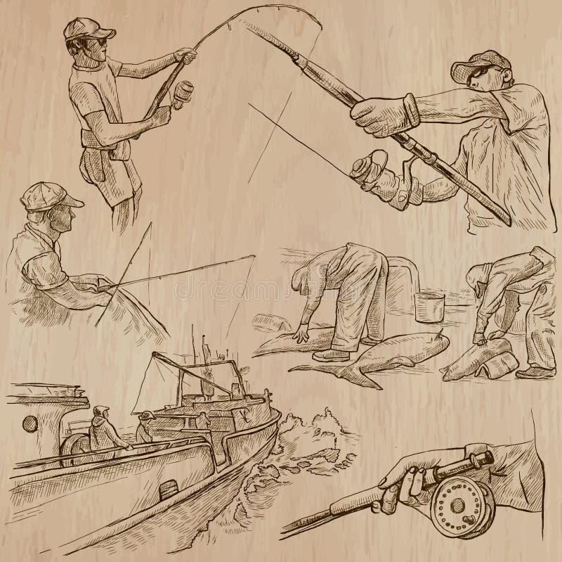 钓鱼-一个手拉的传染媒介组装 向量例证