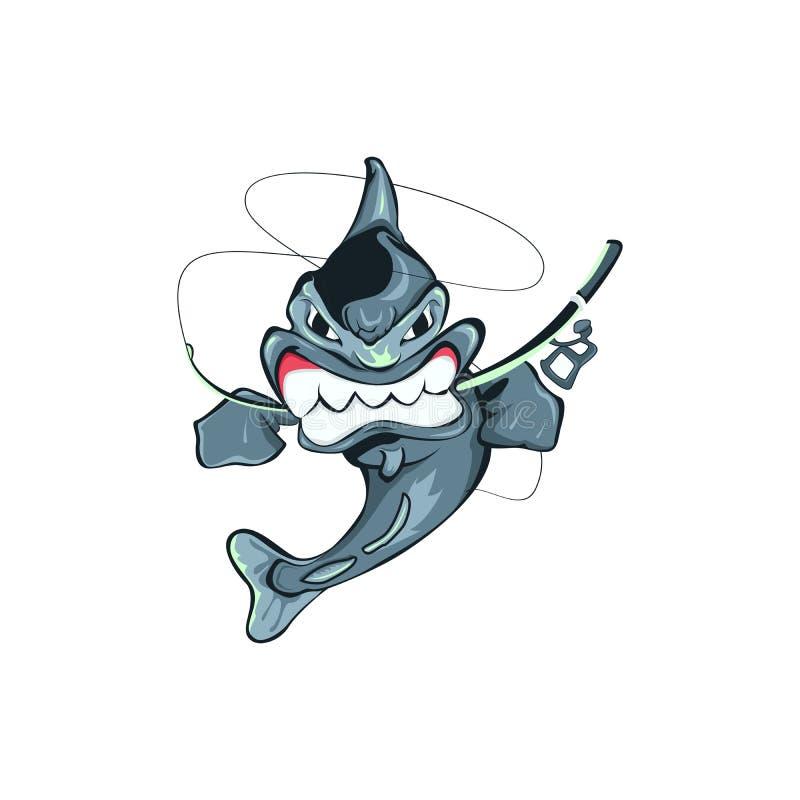 钓鱼ilustration并且咬住一根钓鱼竿,与白色bacground的恼怒的` s鱼 库存图片