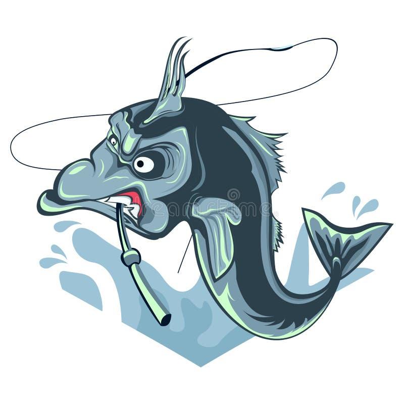 钓鱼ilustration并且咬住一根钓鱼竿,与白色bacground的恼怒的` s鱼 免版税库存照片