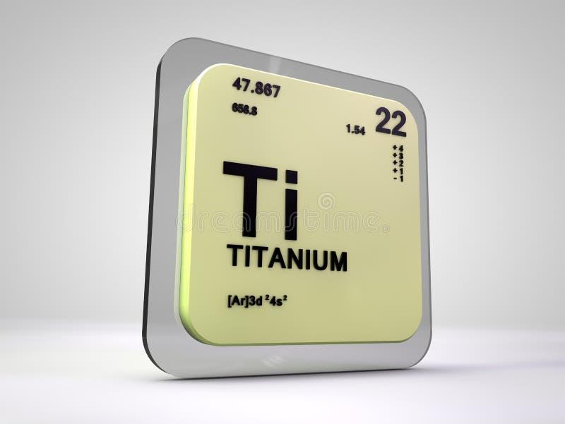 钛-钛-化学元素周期表 库存例证