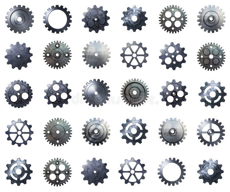 钝齿轮兆组装 金属化有真正的纹理的齿轮在被隔绝的bac 皇族释放例证
