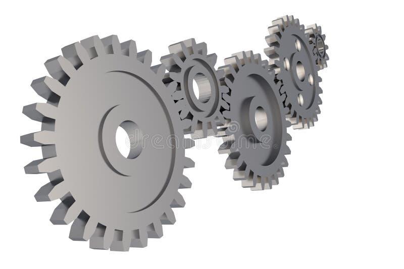 钝齿轮在白色背景的齿轮链子 免版税库存图片