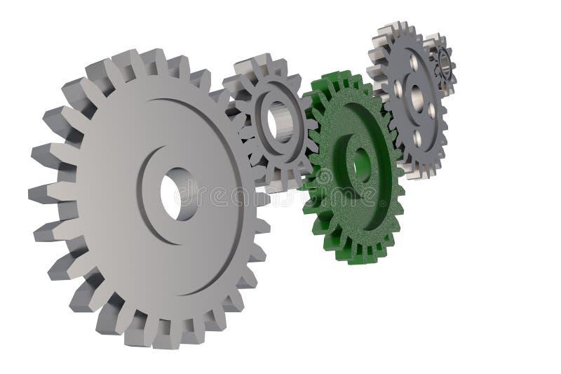 钝齿轮在白色背景的齿轮链子 免版税图库摄影