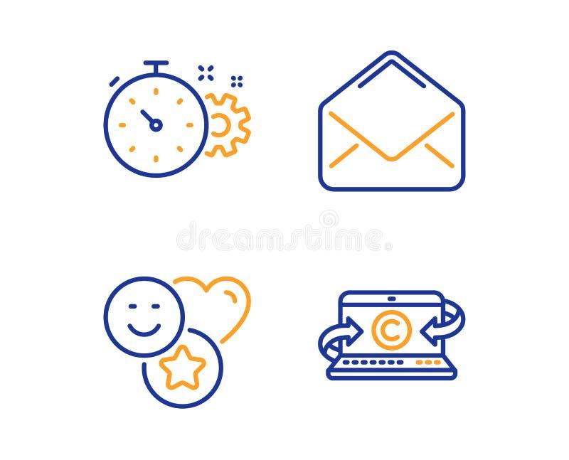 钝齿轮定时器,微笑和邮件象集合 Copywriting笔记本标志 ?? 向量例证