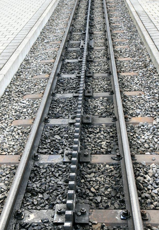 钝齿轮平台铁路运输铁路瑞士 免版税库存照片