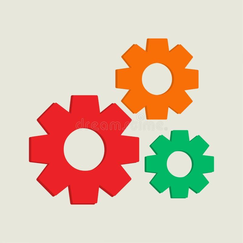 钝齿轮齿轮机构技术设置传染媒介例证 库存例证