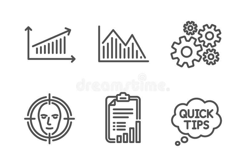 钝齿轮,投资图表和清单象集合 面孔查出,绘制和快的技巧标志 ?? 皇族释放例证