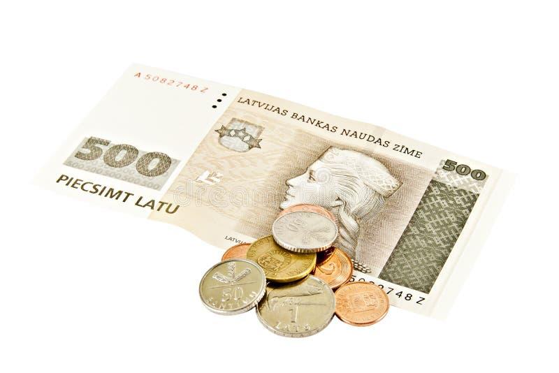 钞票五百面拉特银币拉脱维亚状态 库存图片
