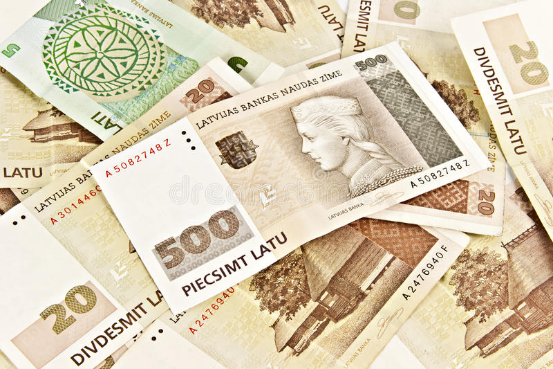 钞票五百面拉特银币拉脱维亚状态 库存照片