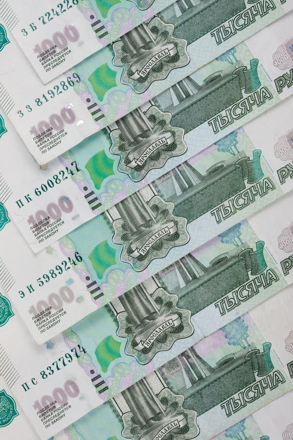 从钞票俄罗斯卢布衡量单位的背景一千卢布 库存图片