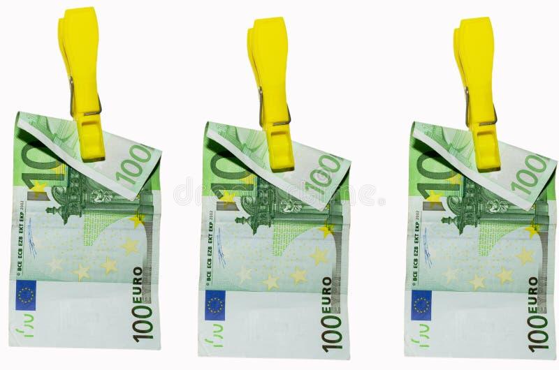 钞票晒衣夹欧洲洗衣店货币 库存照片