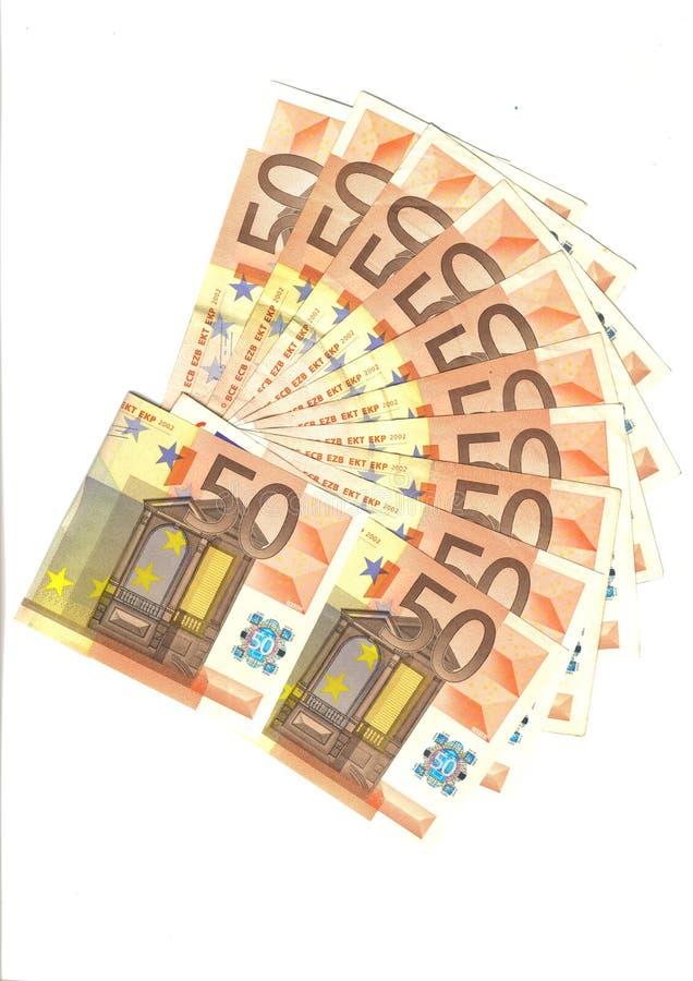 钞票欧元范围 免版税库存照片