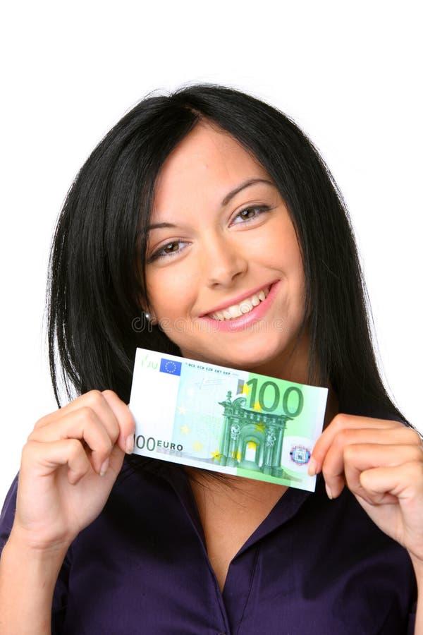 钞票欧洲妇女年轻人 库存图片