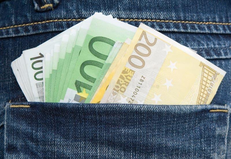 钞票欧洲熟悉内情的牛仔裤矿穴 免版税库存图片