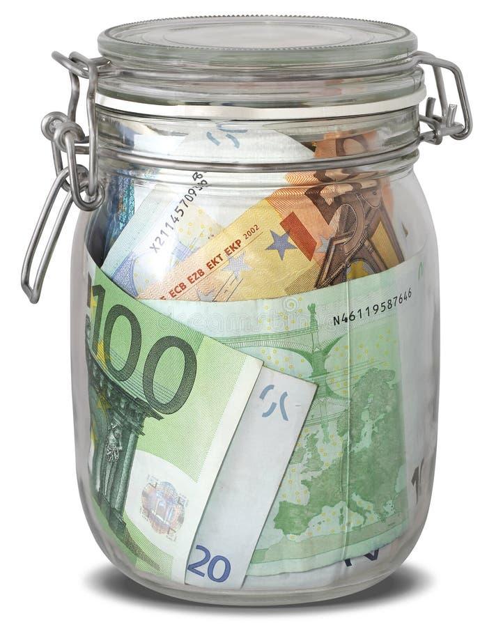 钞票欧洲在瓶子 库存图片
