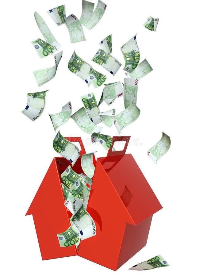 钞票欧洲落的房子 向量例证