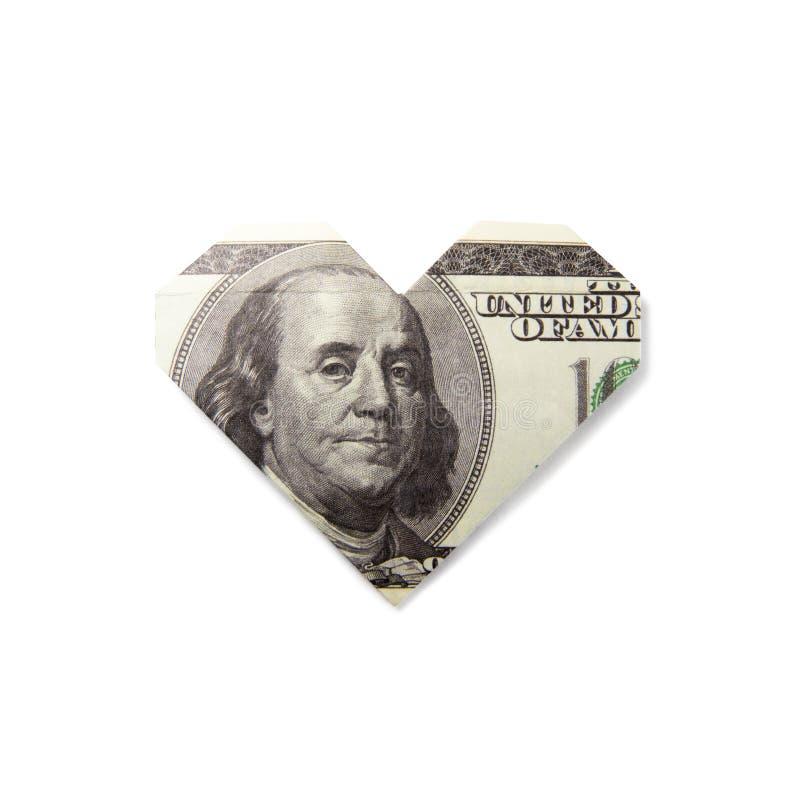 钞票的Origami心脏 免版税库存照片