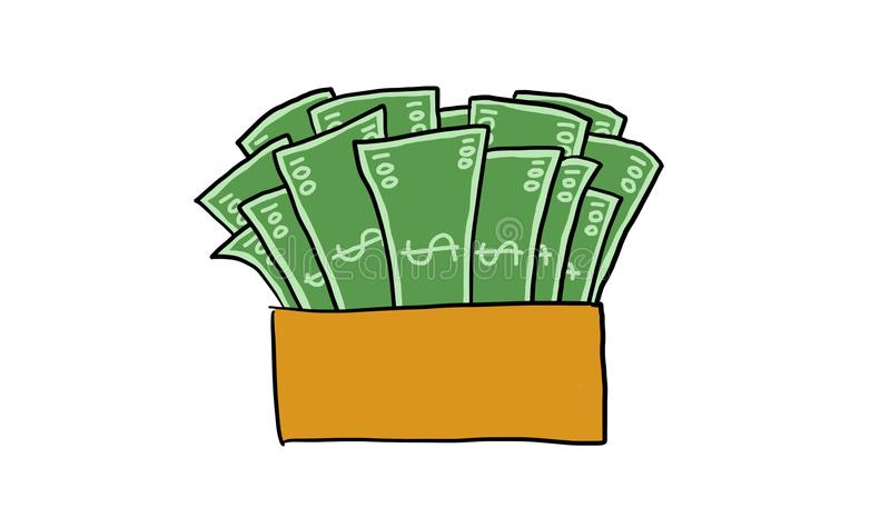 钞票箱子 向量例证