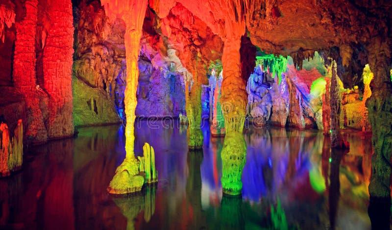 钟乳石和水在Gui林,瓷石灰岩地区常见的地形洞  图库摄影