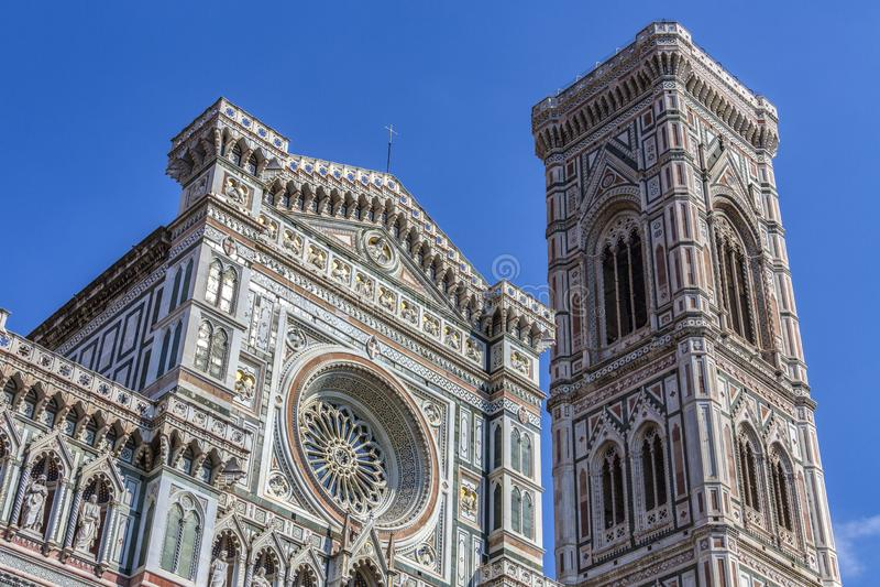 钟楼和中央寺院-佛罗伦萨-意大利 免版税库存照片