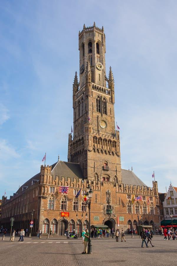 钟楼在布鲁日,比利时的历史中心 库存照片