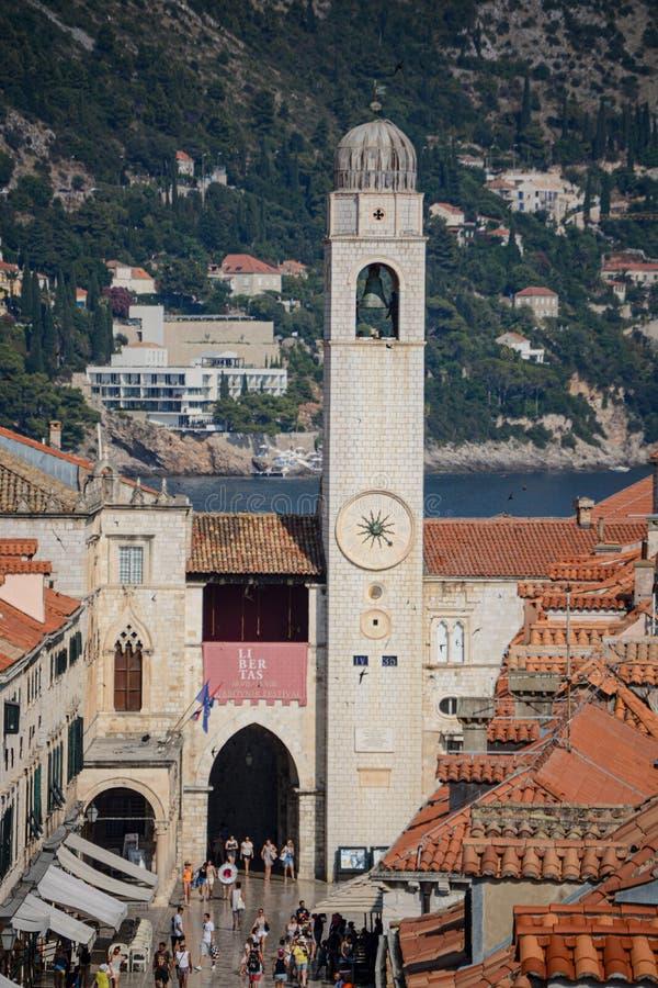 钟楼在杜布罗夫尼克,克罗地亚 免版税库存照片