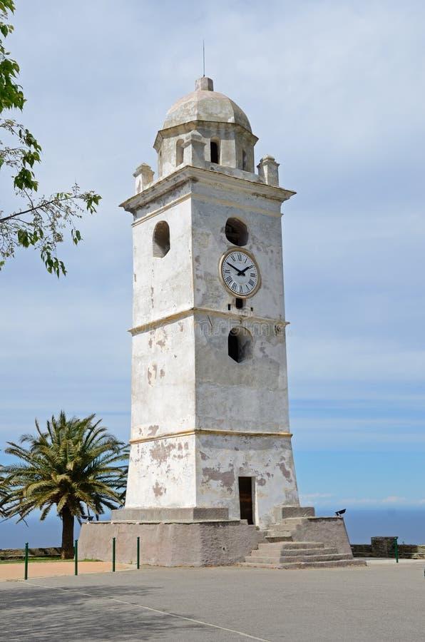 钟楼在科西嘉岛村庄Canari 免版税库存图片