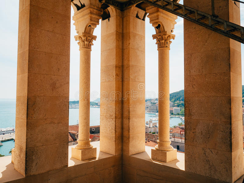 钟楼在老镇分裂在克罗地亚 图库摄影