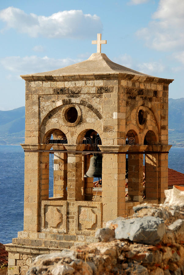 钟楼在莫奈姆瓦夏,希腊 免版税库存照片