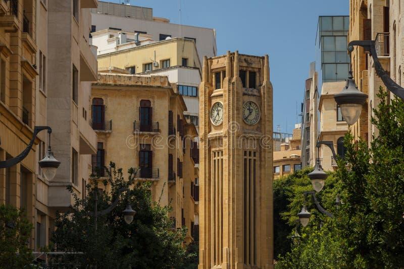钟楼在贝鲁特街市  库存照片