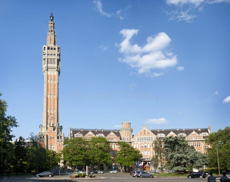 钟楼城市法国大厅里尔 免版税库存照片