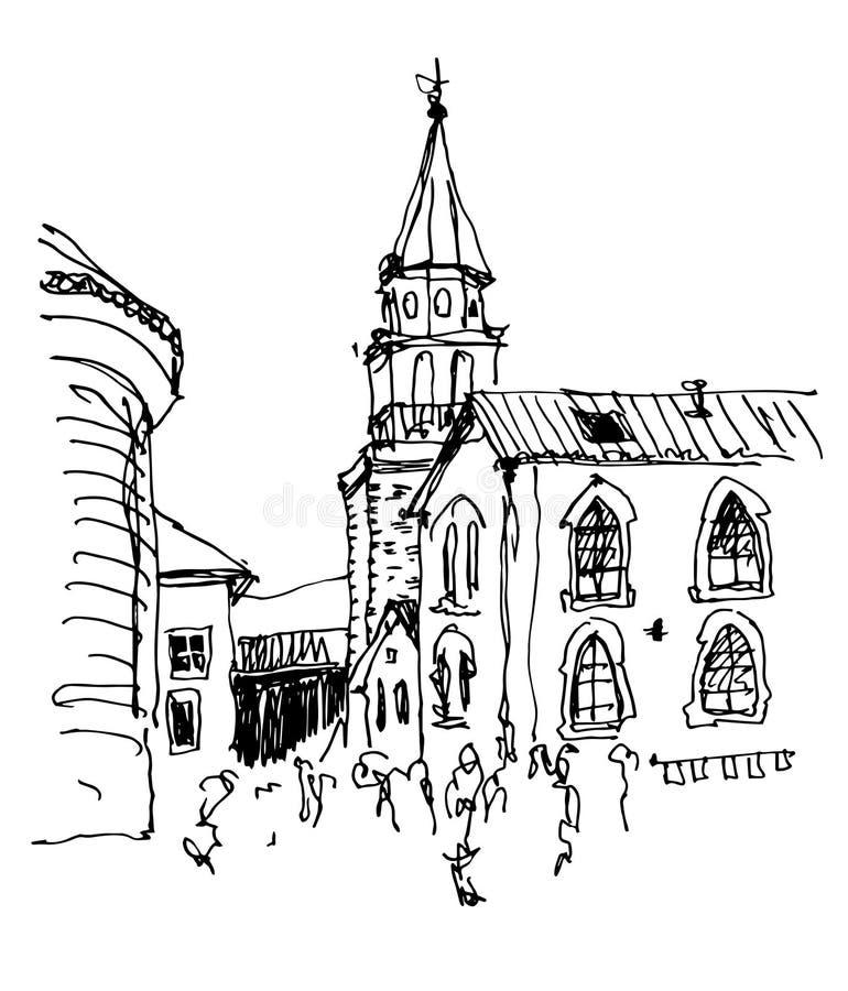 钟楼教会顶视图在老镇布德瓦黑山 向量例证