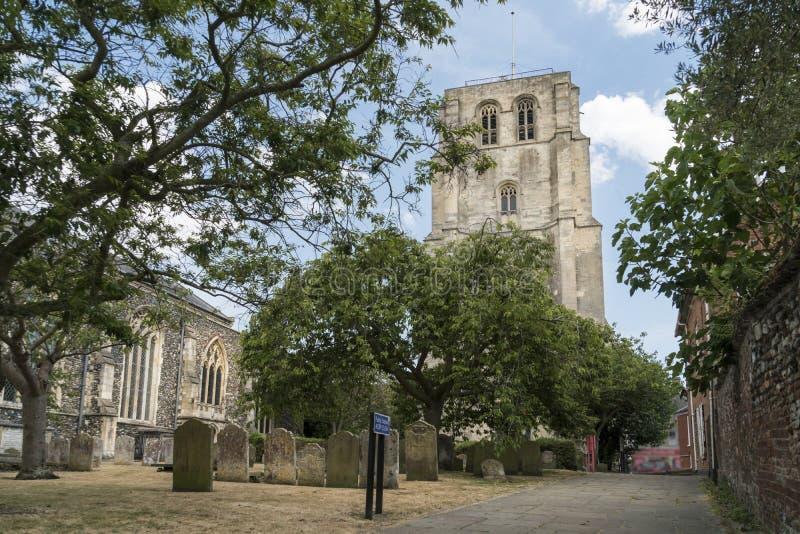 钟楼的看法, Beccles,萨福克,英国 免版税库存图片