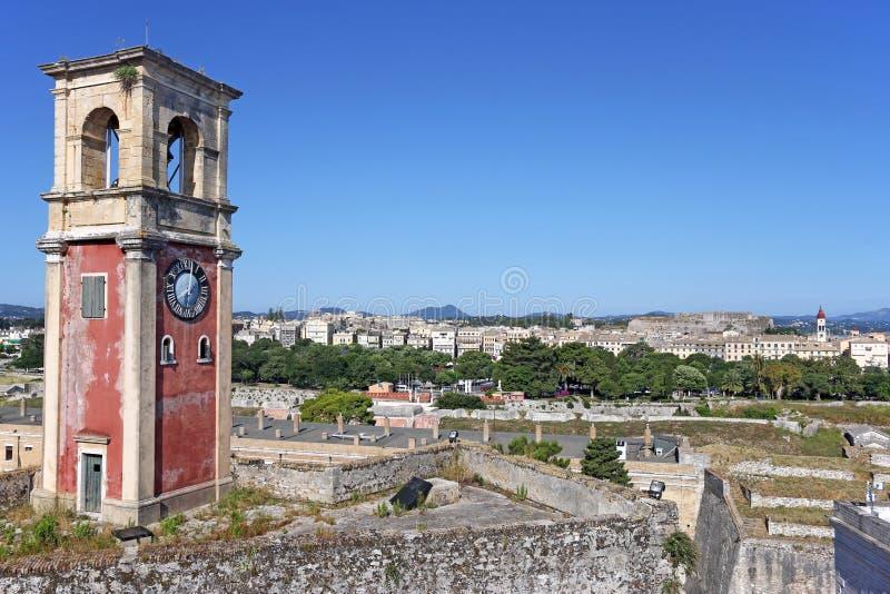 钟楼老堡垒科孚岛 免版税库存照片