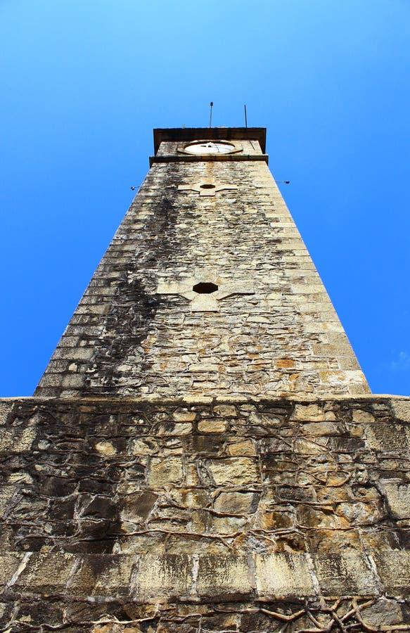 钟楼,在蓝天背景的加勒堡垒  免版税库存照片
