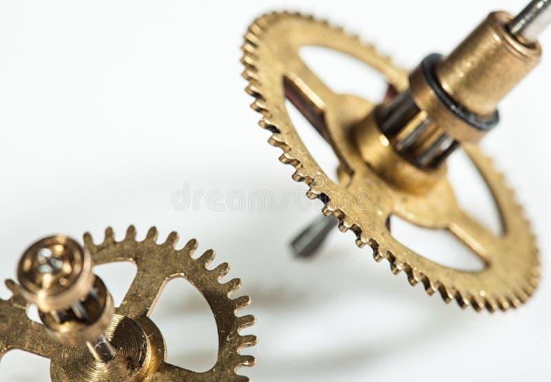 钟表机构机制的抽象图象-钝齿轮-齿轮 免版税库存照片