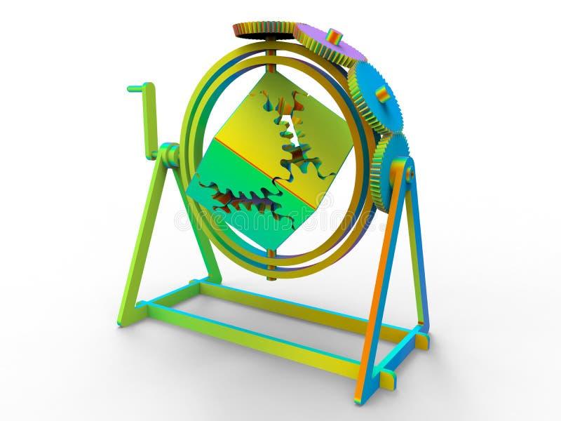 钟表机构立方体设备 库存例证
