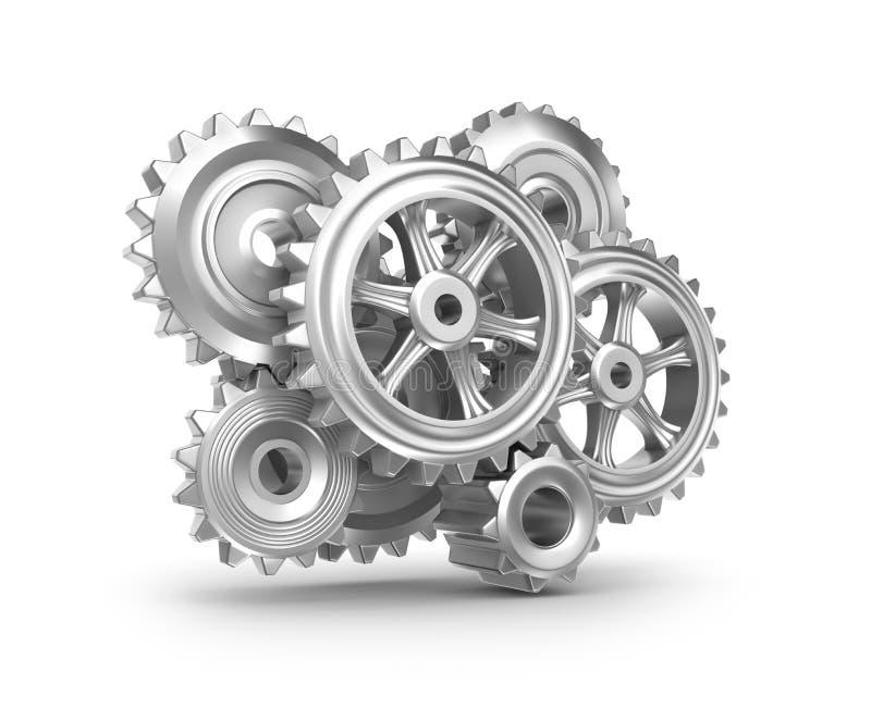 钟表机构结构。 嵌齿轮和齿轮。 皇族释放例证