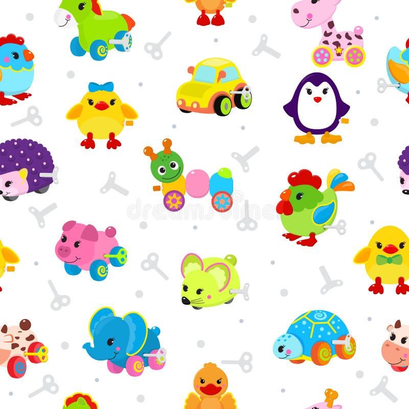 钟表机械玩具传染媒介技工游戏室玩具店孩子动物时钟工作汽车、火车、机器人和鸭子的钥匙机制 库存例证