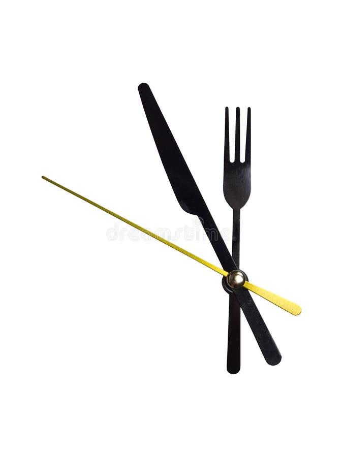 钟针分叉和在白色背景的刀子 库存照片