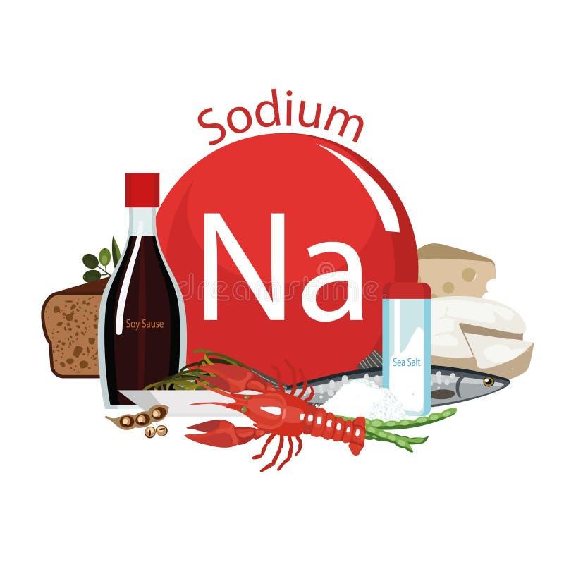 钠 食物来源 与最大钠内容的食品 皇族释放例证