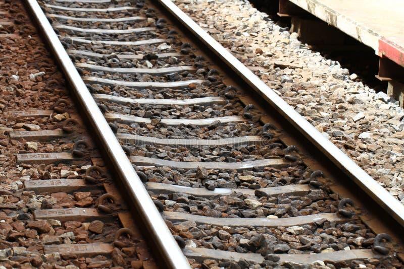 钢和岩石铁轨指向,生锈的火车轨道透视背景,家庭装饰设计墙纸,对称 库存图片