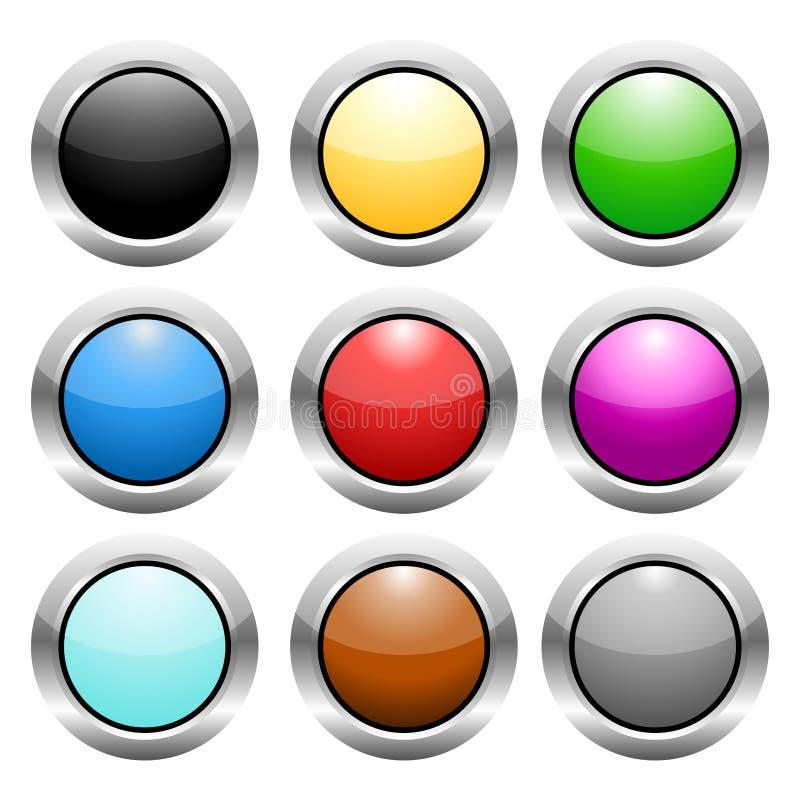 钢圈子颜色按钮 免版税库存图片