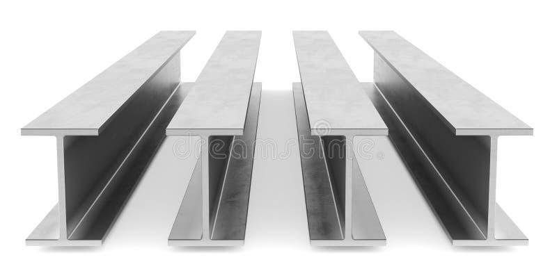 钢工字金属梁 在白色背景的耳轮缘射线 免版税库存图片