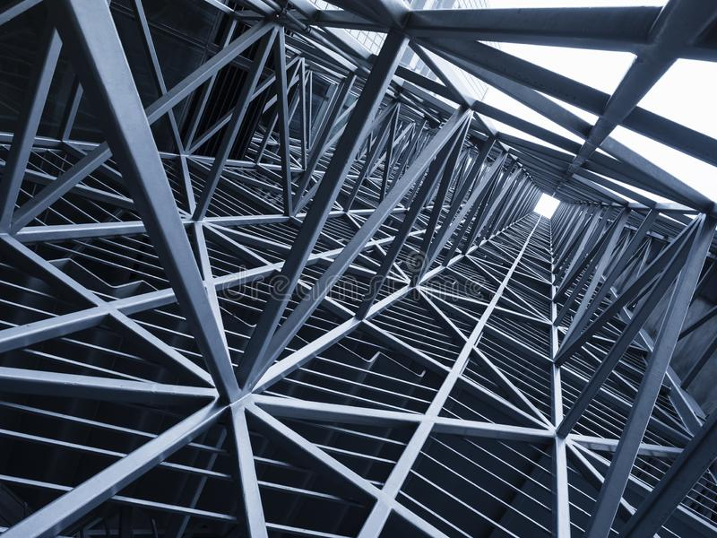 钢建筑金属框架样式建筑学细节backg 免版税库存图片
