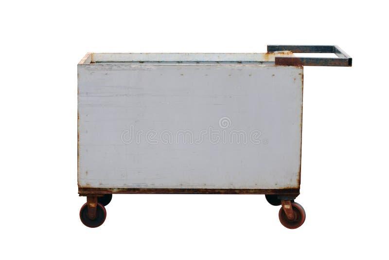 钢推车,拾起老您的物品,台车方形的形状的钢台车,拖车垃圾,并且明白,投入了它的老提取,拾起arou 免版税库存图片