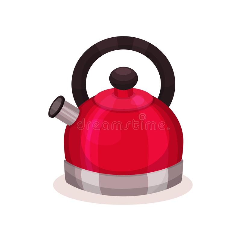 钢明亮的红色水壶象与棕色把柄的 背景分叉厨房六器物白色 横幅或海报的平的传染媒介元素  库存例证